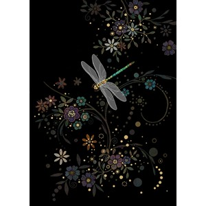 "Kort BUG ART,Jewels ""Dragonfly in a Swirl"""