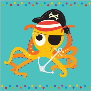 Kort 140x140, Piece of Cake, Pirate Octopus