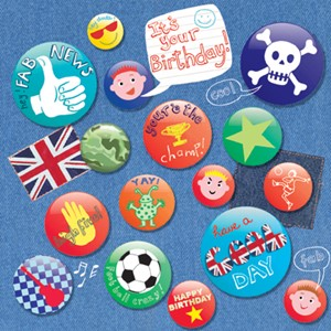 Doble kort, 140x140, Piece of Cake, Birthday Badges
