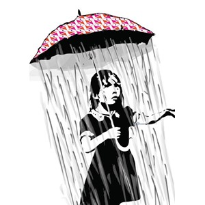 Doble kort 120x170mm, BANKSY, Umbrella Girl