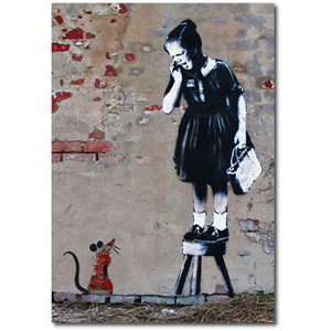 Doble kort 120x170mm, BANKSY, Girl on Stool