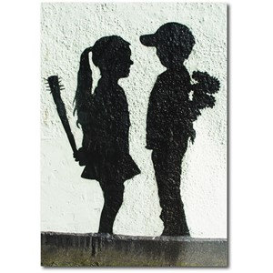 Doble kort 120x170mm, BANKSY, Girl With Stick