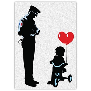 Doble kort 120x170mm, BANKSY, Trycycle Cop