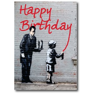Doble kort 120x170mm, BANKSY, Birthday Grafitti