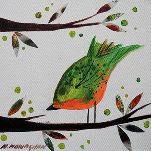 Dobbelt kort, 155x155, Nikki Monaghan, Orange and Green Bird