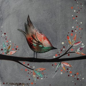 Dobbelt kort, 155x155, Nikki Monaghan, Pink and Green Bird