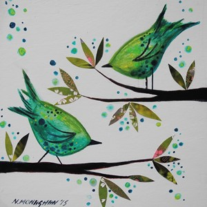 Dobbelt kort, 155x155, Nikki Monaghan, Two Green Birds