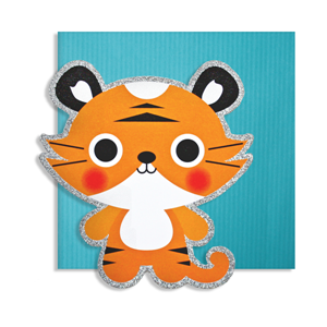 Kort, 150 x 150 mm, Cute Cuts, tiger