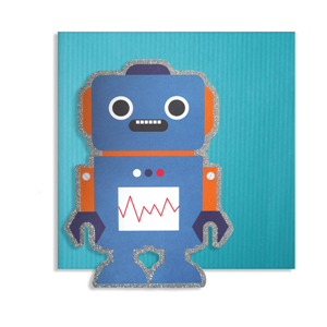 Kort, 150 x 150 mm, Cute Cuts, robot