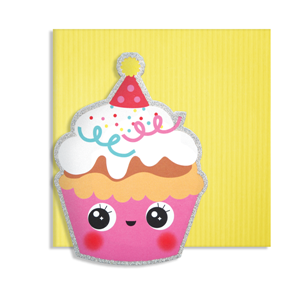Kort, 150 x 150 mm, Cute Cuts, cupcake