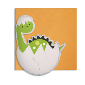 Kort, 150 x 150 mm, Cute Cuts, dinosaurbaby