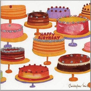 "Kort 160x160, Christopher Vine Design, ""Birthday Cakes"""