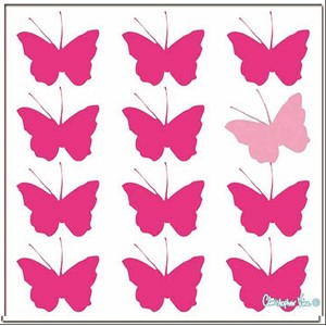 "Kort 160x160, Christopher Vine Design, ""Pink Butterflies"""