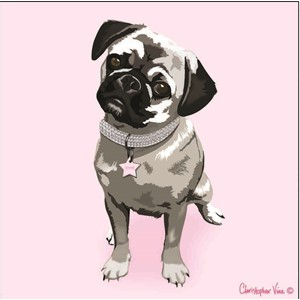 "Kort 160x160, Christopher Vine Design, ""Princess Pug"""
