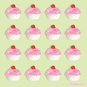 "Kort 160x160, Christopher Vine Design, ""Strawberry Cupcakes"""