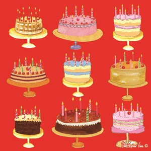 "Kort 160x160, Christopher Vine Design, ""Red Birthday Cakes"""