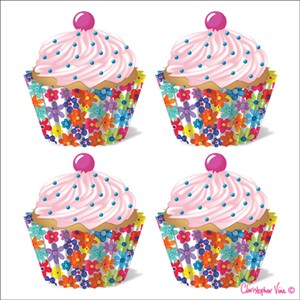 "Kort 160x160, Christopher Vine Design, ""Four Floral Cupcakes"