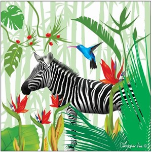 "Kort 160x160, Christopher Vine Design, ""Tropical Zebra"""