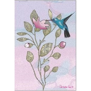 Doble kort 12x17, Christopher`s Garden, Hummingbird