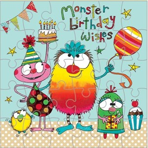 Puslekort 165x165mm, Monster Birthday