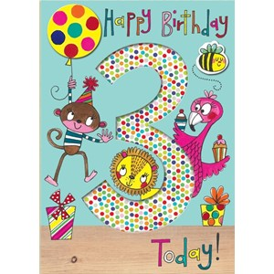 Doble kort 178x126, Wonderland, Age 3 Party Animals