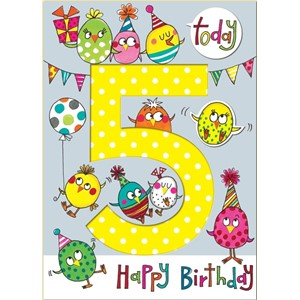 Doble kort 178x126, Wonderland, Age 5 Party Birds