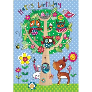 Doble kort 178x126, Wonderland, HB Owl Tree