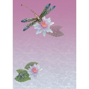 Kort 178x122 Crystal Collection, Dragonfly & Waterlilly