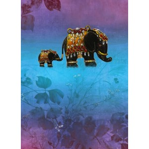 Kort 178x122 Crystal Collection, Two Elephants