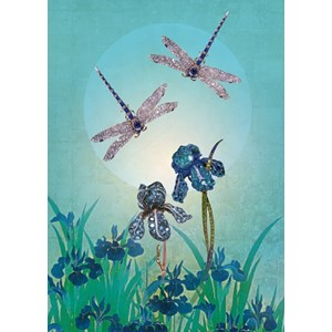 Kort 178x122 Crystal Collection, Iris and Dragonflies