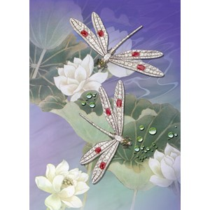 Kort 178x122 Crystal Collection, Diamond Dragonflies