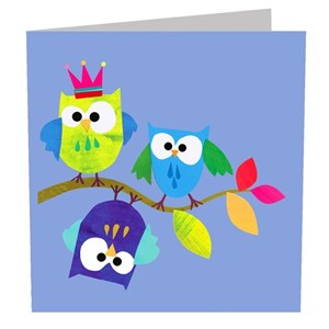 Doble kort 142x142, The Square Card Co, Owls