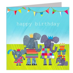 Doble kort 142x142, The Square Card Co, Elephants