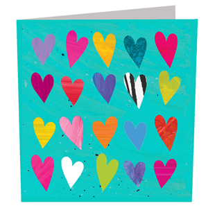 Doble kort 142x142, The Square Card Co, Hearts