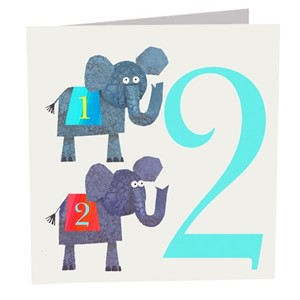 Doble kort 142x142, The Square Card Co, Two Elephants