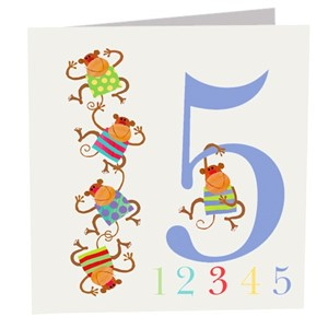 Doble kort 142x142, The Square Card Co, Five Monkeys