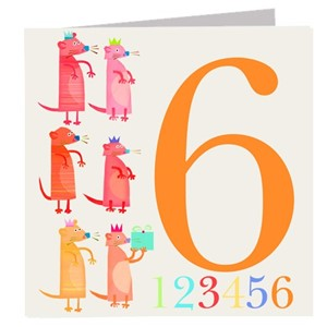 Doble kort 142x142, The Square Card Co, Six Meercats