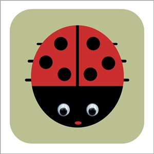 Doble kort 110x110, Wobbly Eyed, Lisbeth Ladybird