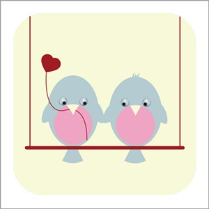 Doble kort 110x110, Wobbly Eyed, Love Birds