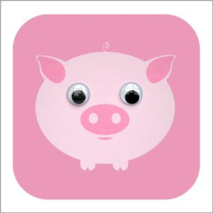 Doble kort 110x110, Wobbly Eyed, Perdy Pig, pink