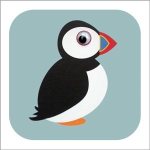 Doble kort 110x110, Wobbly Eyed, Polly Puffin