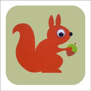 Doble kort 110x110, Wobbly Eyed, Pip Squirrel, green