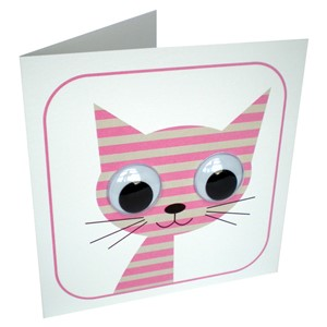 Doble kort 110x110,Wobbly Eyed, Stripey Cat, pink
