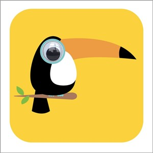 Doble kort 110x110, Wobbly Eyed, Tilly Toucan, yellow
