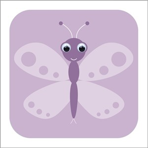 Dbl kort 110x110, Wobbly Eyed, Betty Butterffly, lilac