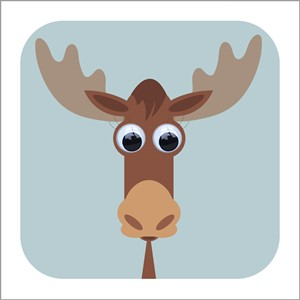 Doble kort 110x110, Wobbly Eyed, Mortimer Moose