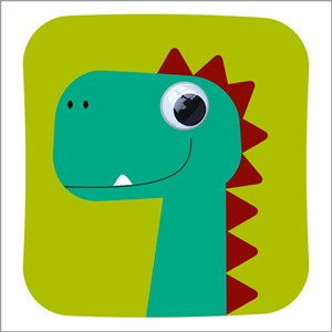 Doble kort 125x125, Wobbly Eyed, Dino-Des