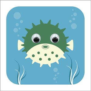 Doble kort 110x110, Wobbly Eyed, Percy Pufferfish