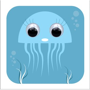 Doble kort 110x110, Wobbly Eyed, Jacqueline Jellyfish