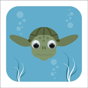 Doble kort 110x110, Wobbly Eyed, Tommy Turtle